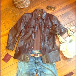 🍁 Vintage 70s Leather Jacket Europe Craft Import